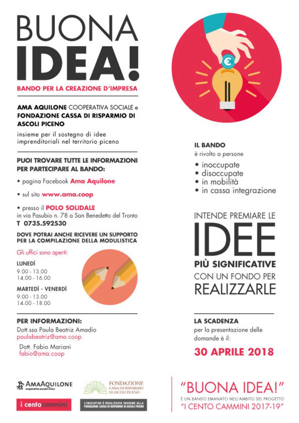 'Buona idea!' bando per la creazione d'impresa